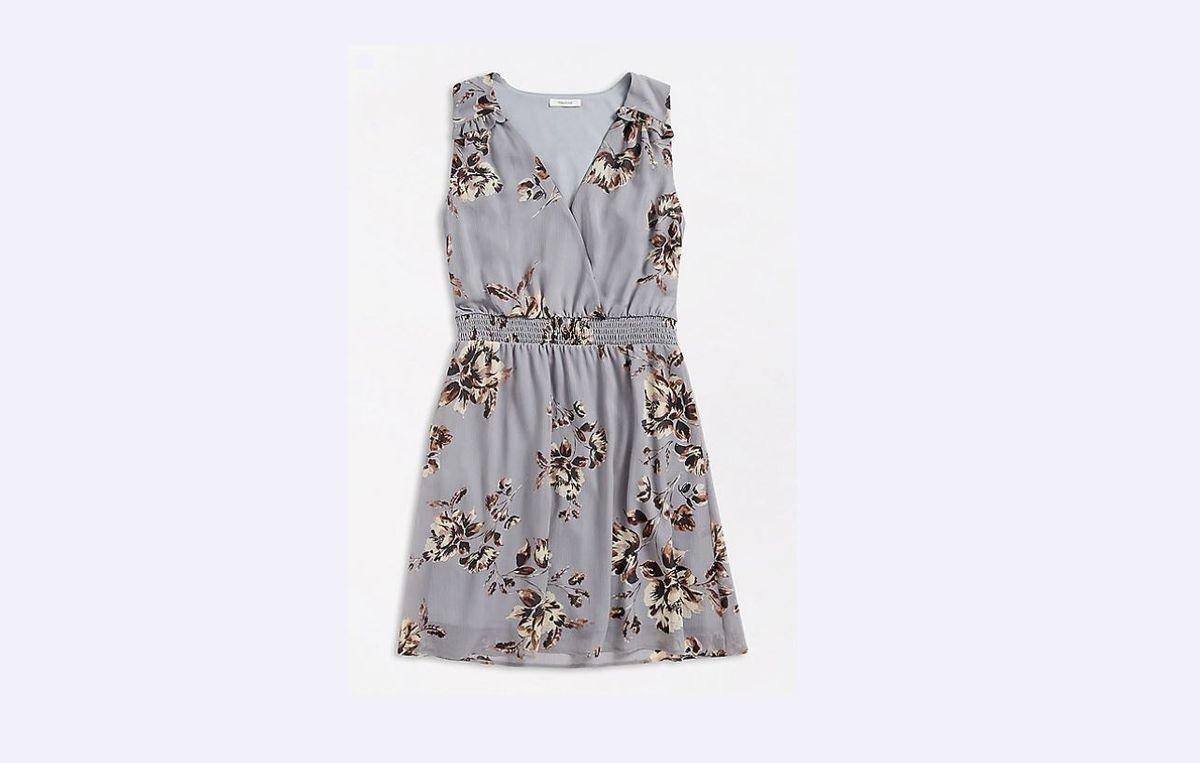 Gray Floral V Neck Mini Dress
