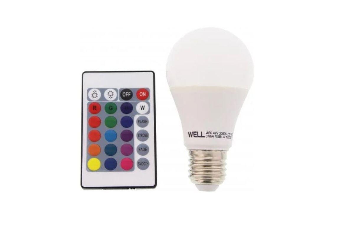 Bec Cu Led A60 E27 4w 230v Lumina Rgb Telecomanda