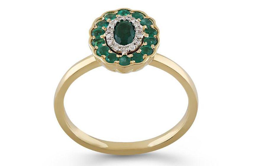 Inel Aur 18k Diamante, Smaralde Deruvo