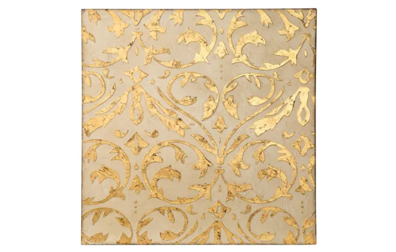 Gold Ivory Patterned Trefoil Wall Art