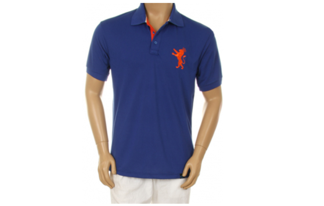 Men's Blue Polo Orange Lion