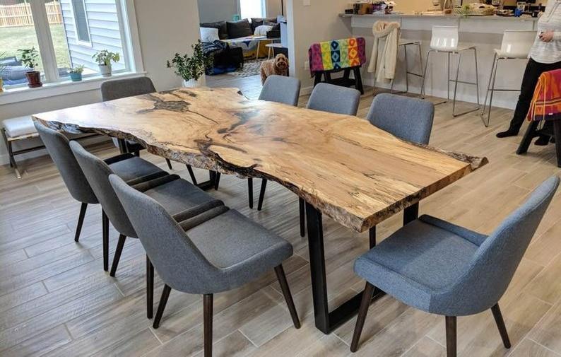 Live Edge Table Single Slab Maple Table Black Waln